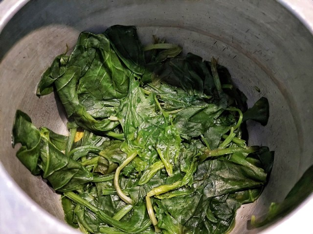 Boiled Palak Leaves
