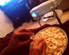 Weeknight movie date with buttered popcorn and a snuggly blanket is pure perfection.