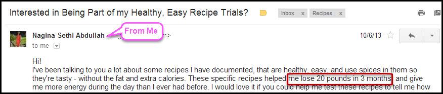 Recipe email