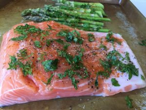 This Dill Salmon and Asparagus is roasted so it's completely hands-off cooking and saves even more time! For more delicious Paleo style recipes like this gorgeous salmon meal, check out my Easy, Spicy One-Week Paleo Meal Plan here.