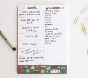Here's a weekly meal-planner AND grocery list notepad in one