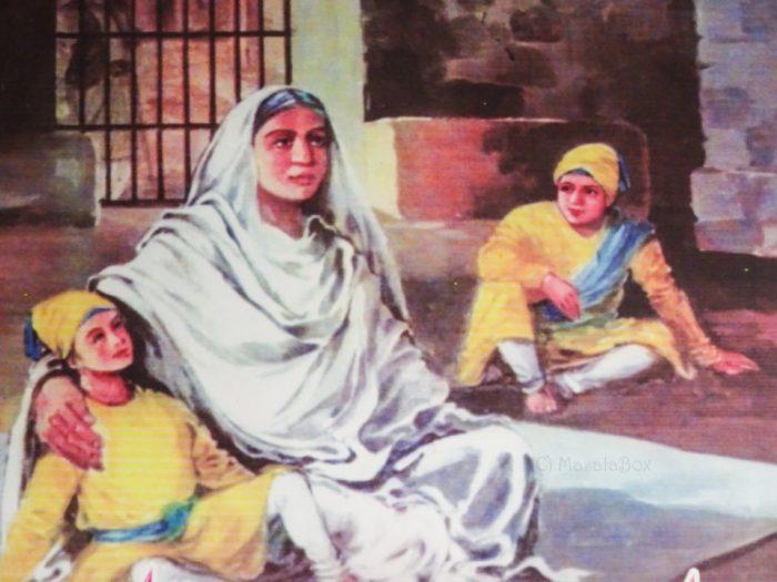Mata Gujri with Fateh Singh and Zorawar Singh