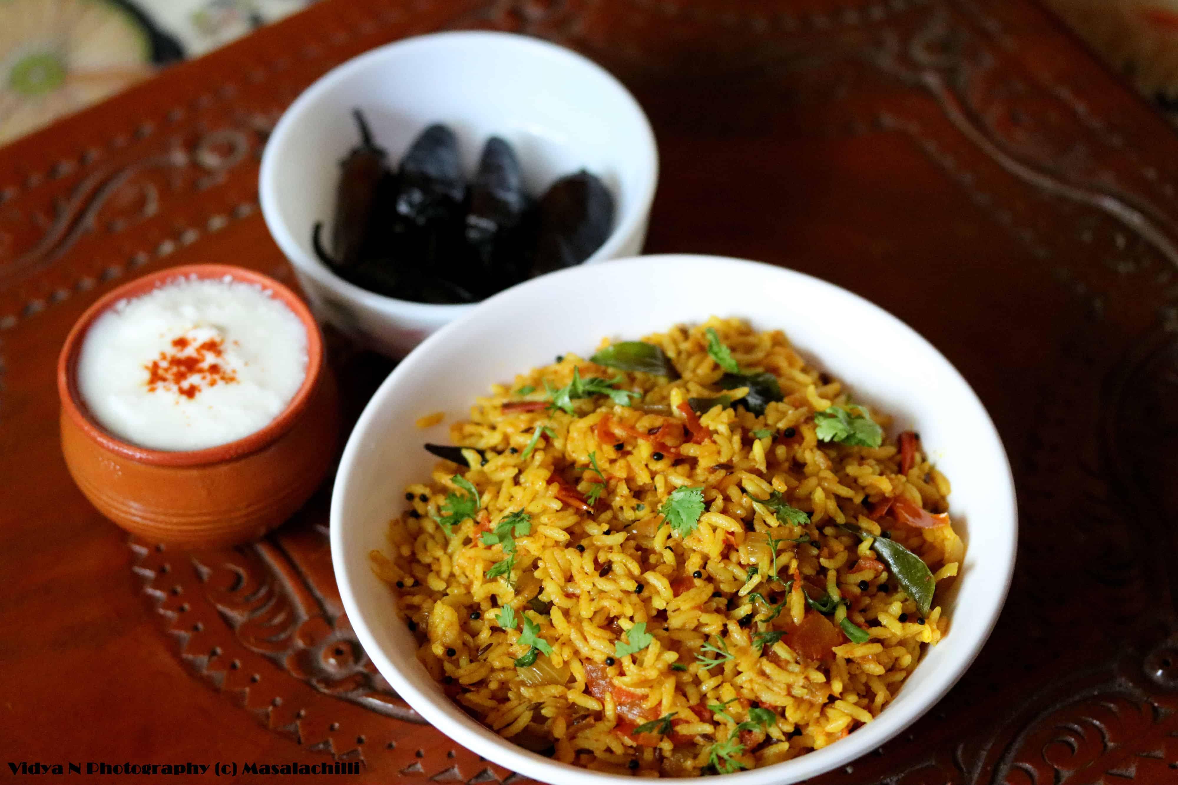 South Indian Tomato Rice / Thakkali Sadam