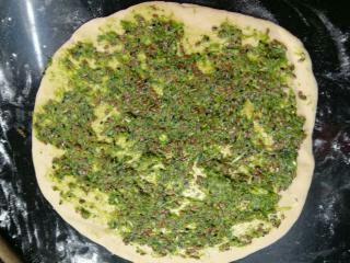 Dough with the pesto spread