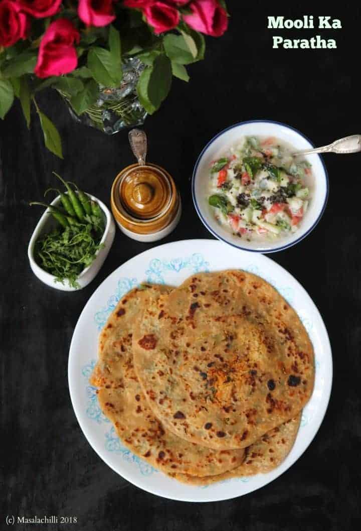 Mooli ka Paratha / Stuffed Flatbreads with Spiced Radish Mix