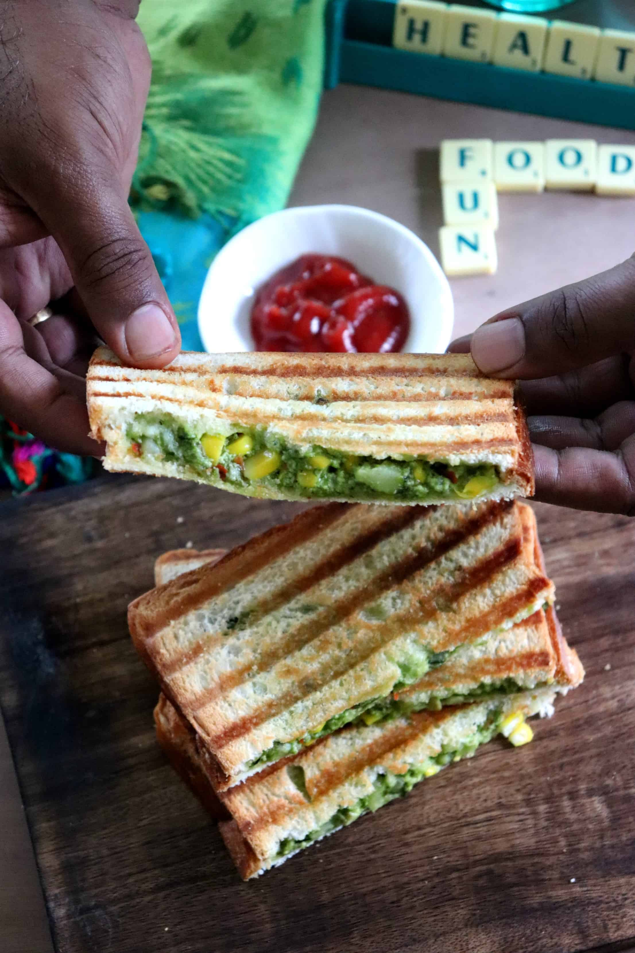 Veggies and Paneer Loaded Grilled Sandwich