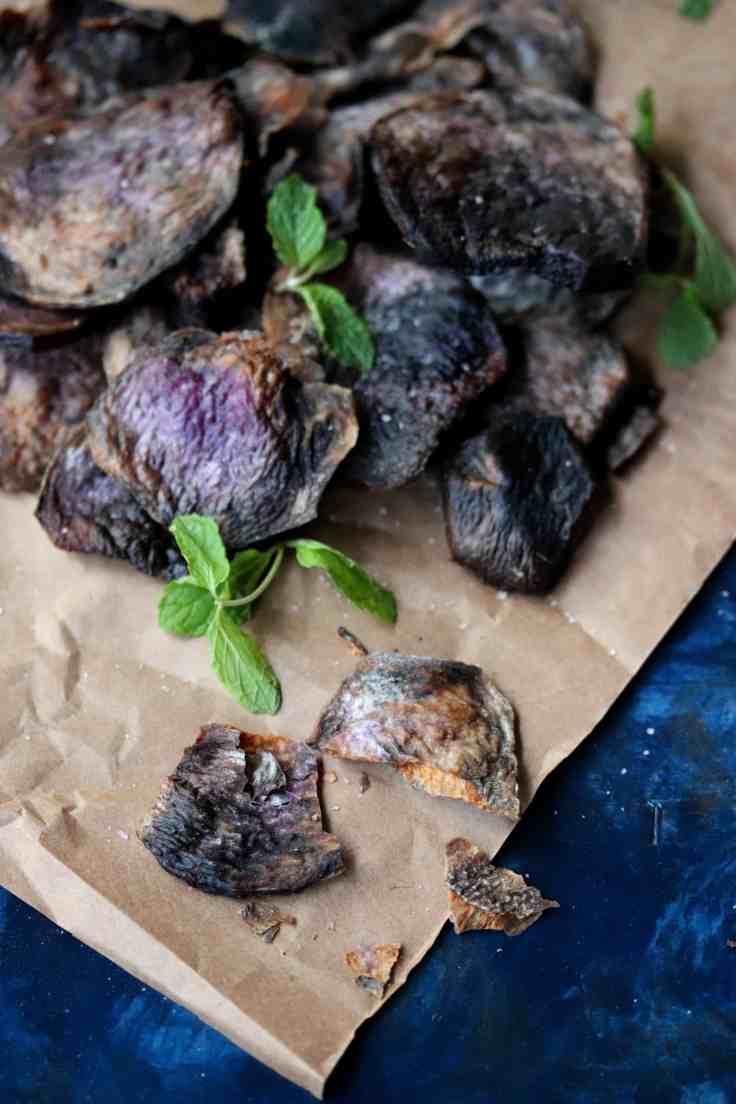 Air Fryer Purple Yam Chips