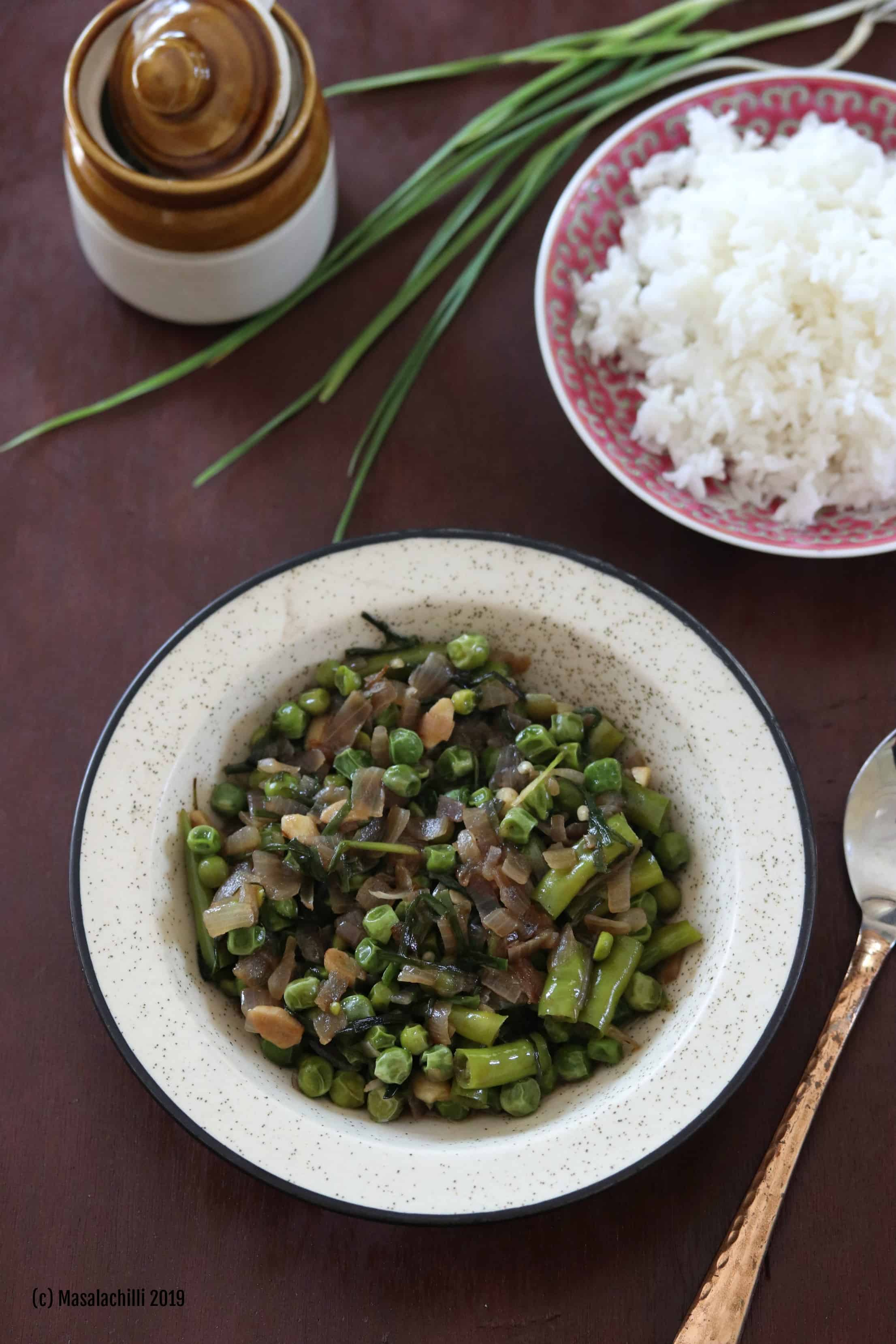 Hawaitharak Uti / Manipuri Green Peas Curry