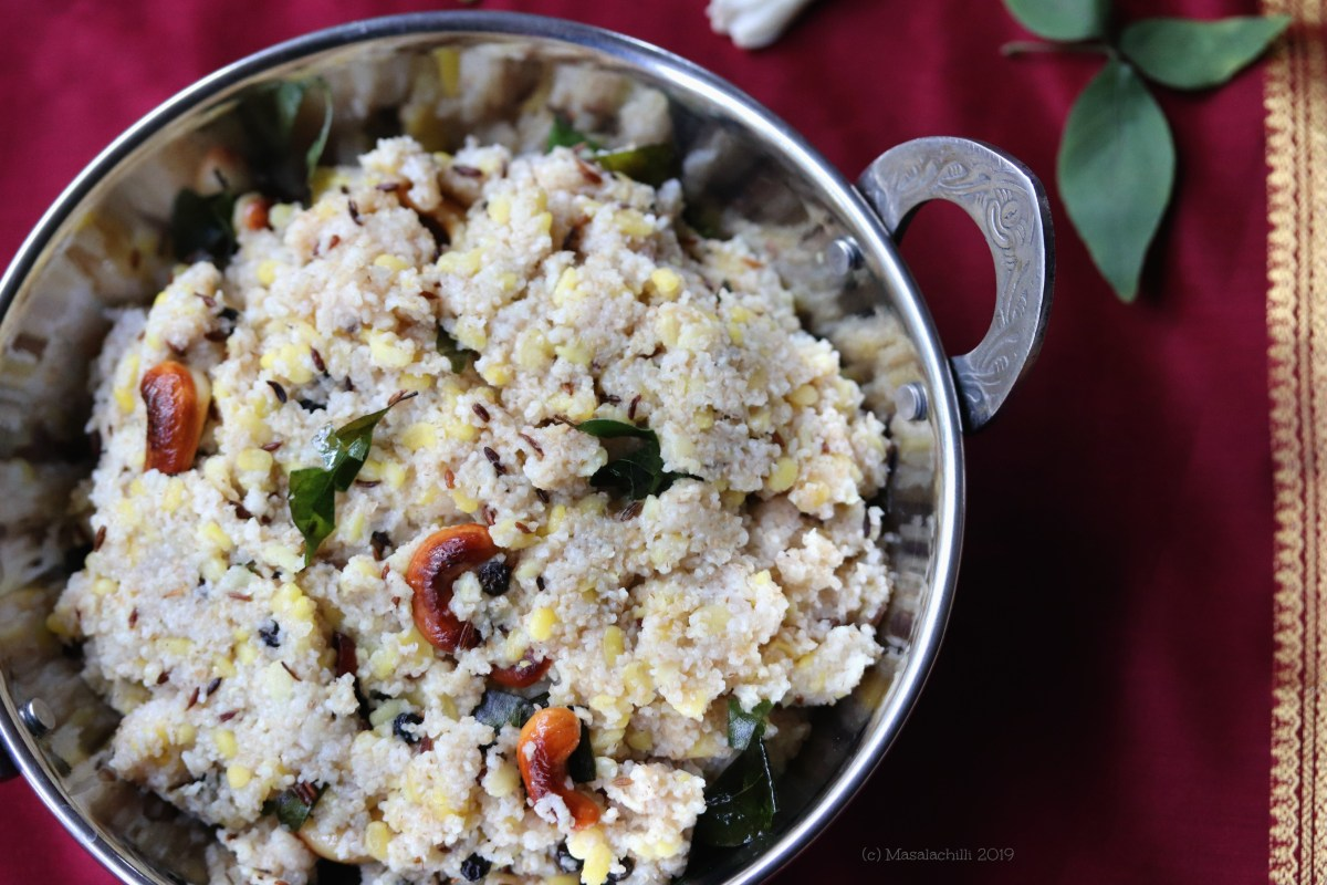 Wheat Rava Pongal or Dalia Pongal