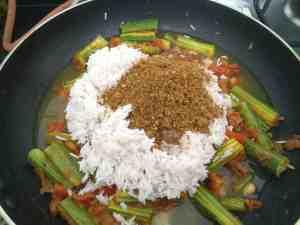 Basmati Rice and Goda masala for Shenga Masale Bhat