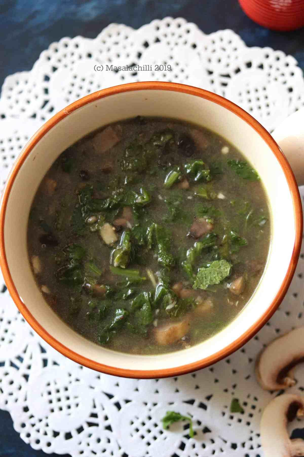 Mushroom Soup Syrwa Tit from Meghalaya. North East Vegetarian Recipe