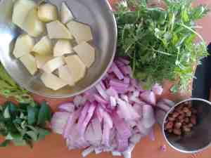 Ingredients prepped for Kande Poha