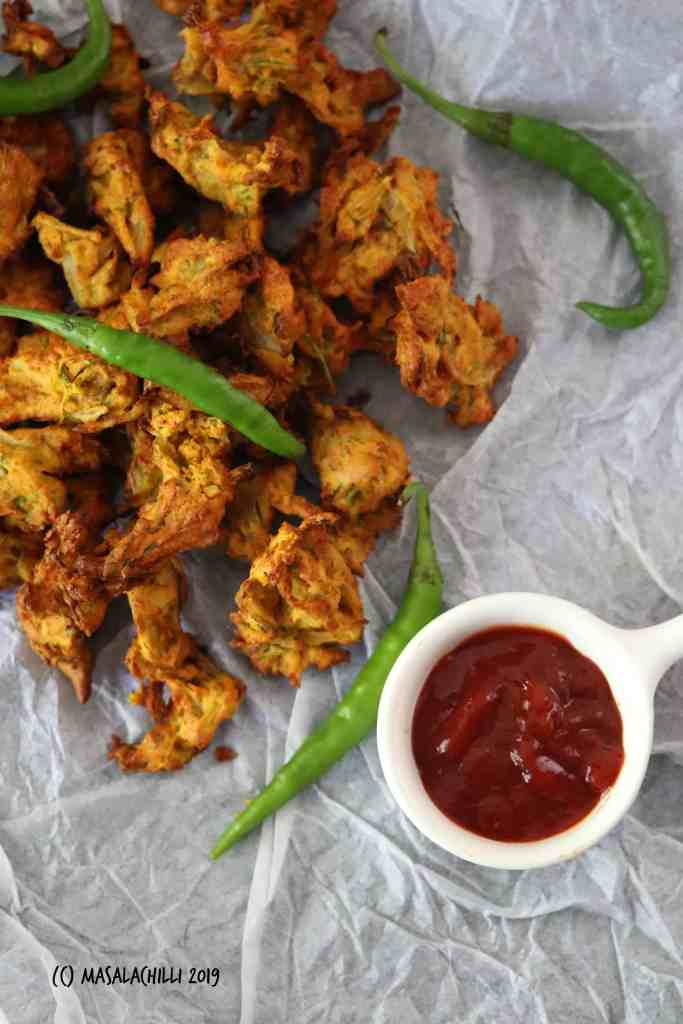 Hot pakodas with tomato Ketchup