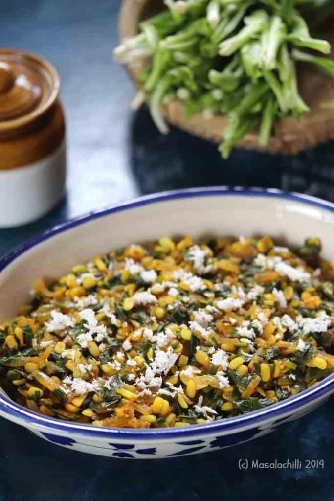 Delicious Maharashtrian Sabzi made with phodshi leafy greens