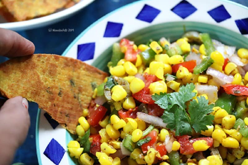 Corn Salad with Khakras for 4pm snack