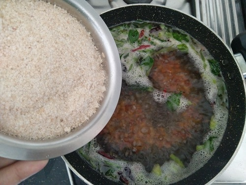 Adding the Coarsely ground brown rice