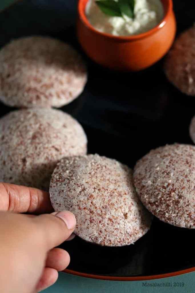 Ragi Idli Recipe with whole Ragi Seeds