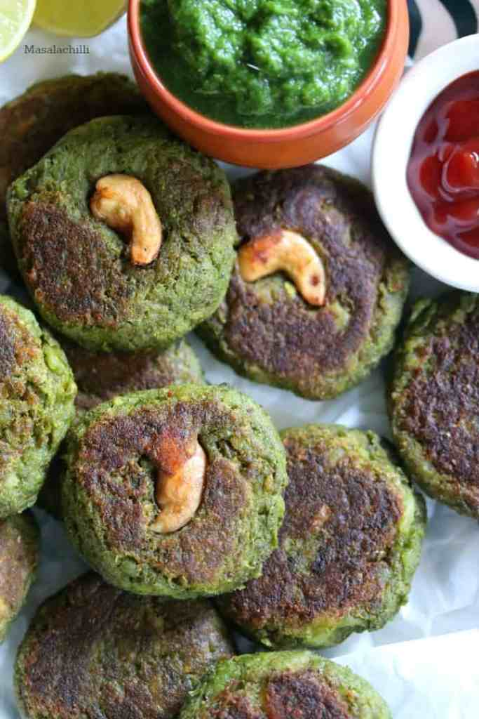 Hara Bhara Kabab served with chutney and ketchup