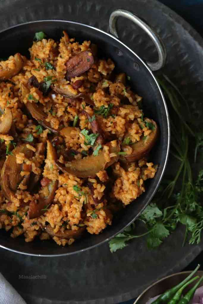 Brinjal Rice made with Sona Masoori Brown Rice
