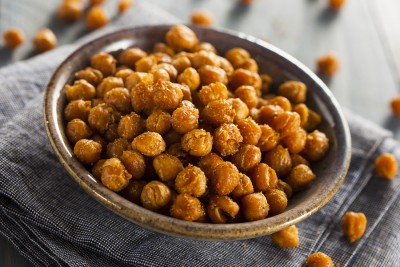 Healthy Roasted Seasoned Chick Peas with Different Spices ** Note: Shallow depth of field