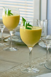 Tall glasses of mango smoothie