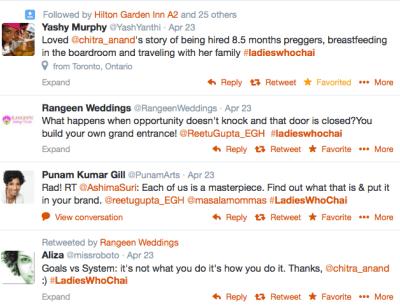 Sample #LadiesWhoChai Twitter feedback