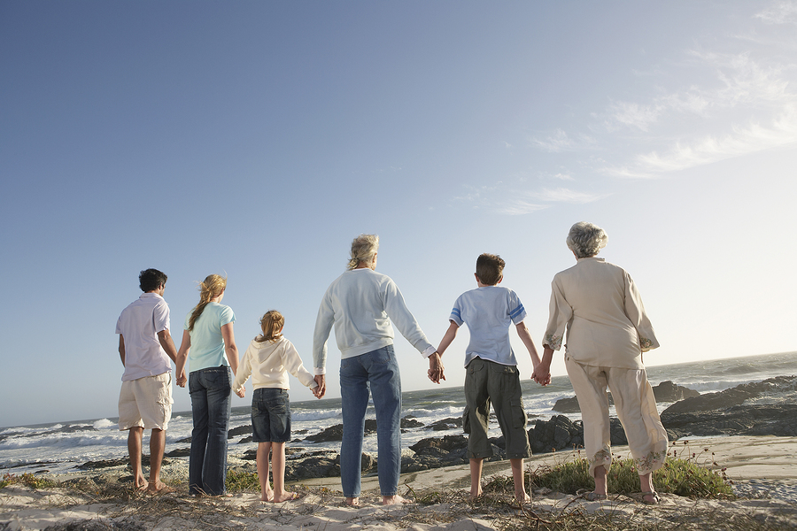 Rear view of three generation family holding hands on seashore