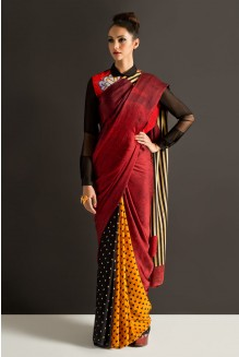 colour blocked minnie saree