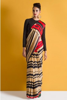 vintage striped saree