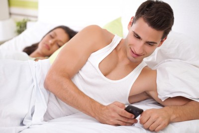Cheating his wife, young men chatting with his mistress while hi