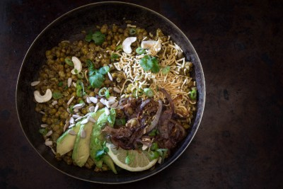 Mung Bean Bowl with Cumin Scented Crispy Onions