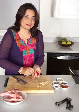 Monica Bhide in kitchen