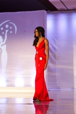 Sheena on stage for the evening gown portion of the Miss New Jersey USA 2014 pageant.