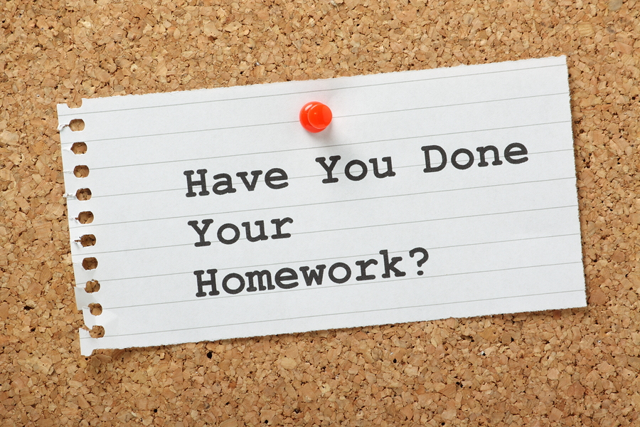 Have You Done Your Homework? typed on a paper note pinned to a cork notice board. Not just for school as doing your homework prepares you for business meetings, interviews and presentations.