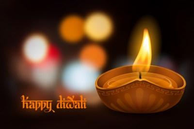 burning oil lamp diya on Diwali Holiday,