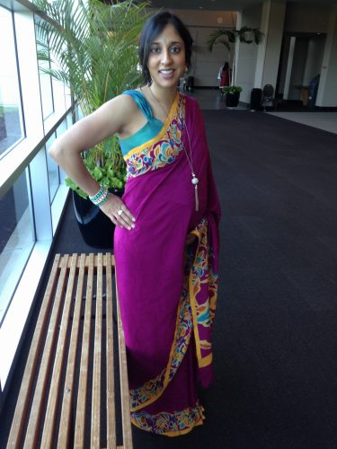 Parul wearing one of her first maternity sari prototypes, a Satya Paul sari that she converted to a full-belly panel maternity sari, paired with a full-length maternity sari blouse.