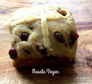 Vegan Wholemeal Fruity Hot Cross buns
