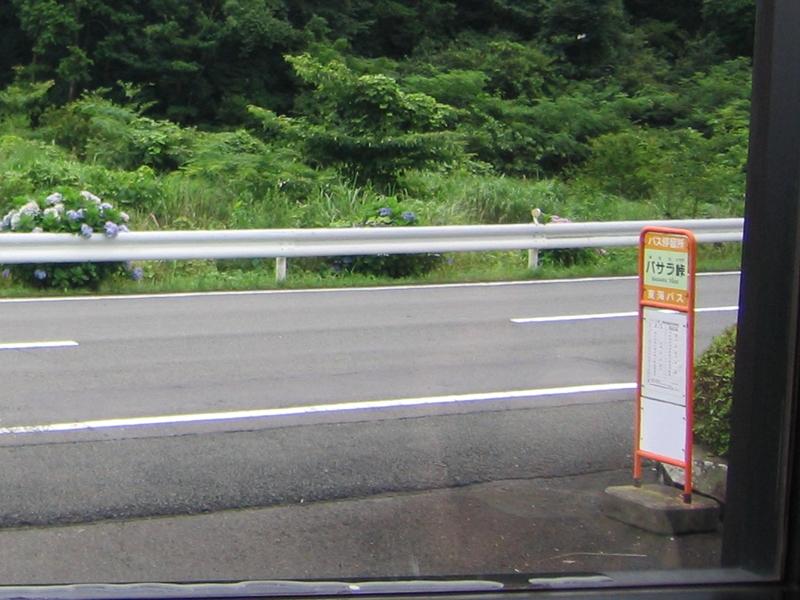 道路とバサラ峠と書かれたバス停