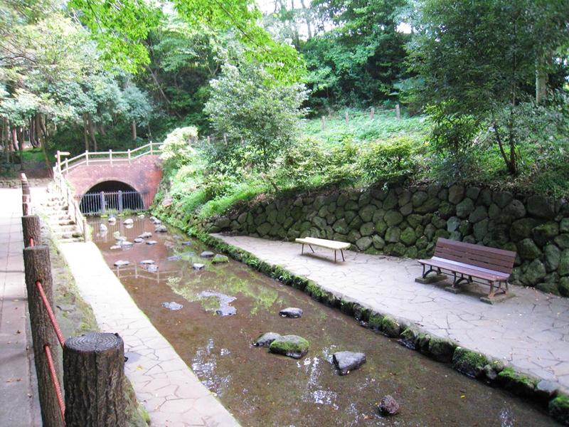 川と整備された周辺ベンチが置いてある