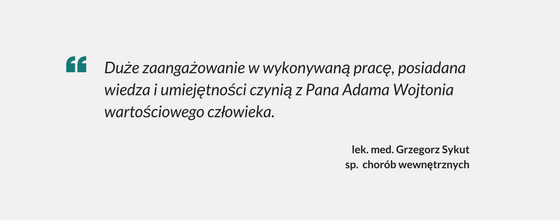 Referencje dla masażysty Adama Wojtonia