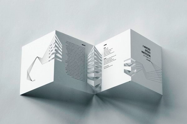Contoh Desain Brosur Pop Up 3D Kreatif Atraktif - Desain Brosur Pop Up - International Architectural Model Festival brochure 1