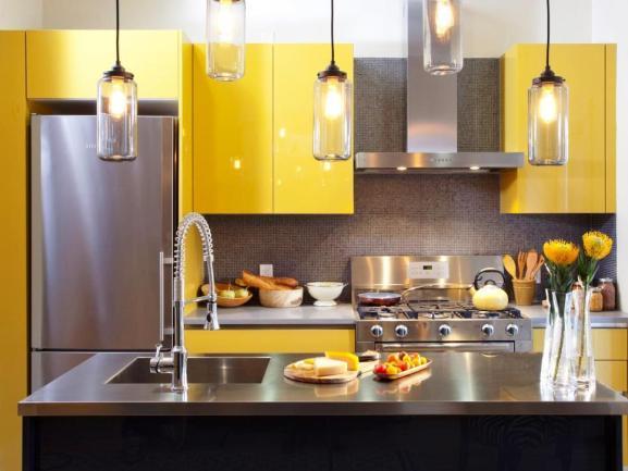 Menentukan Warna Cat Dapur Rumah - After Yellow Kitchen Cabinets Close
