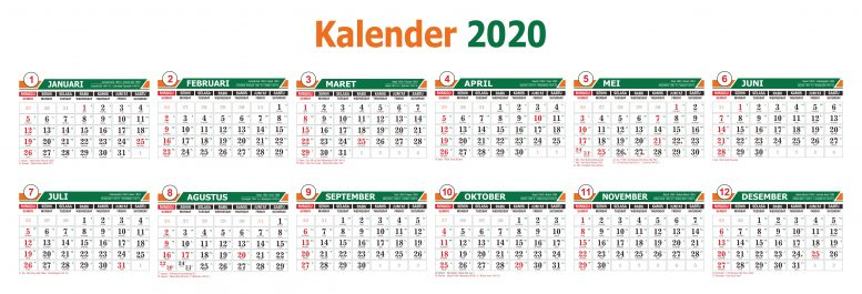 Free Download Vector 2020 Calendar Template with National Holiday