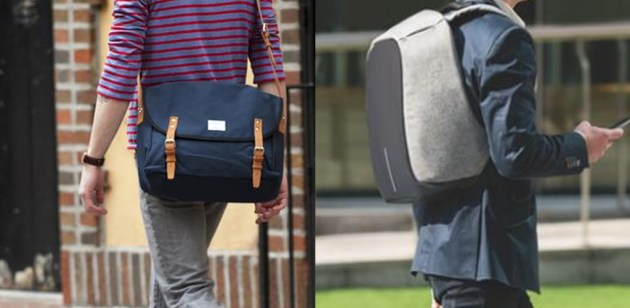 berjalan dengan tas selempan dan tas punggung