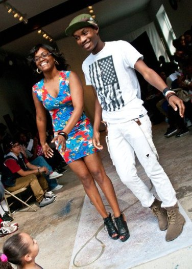 Robyn Modest & PR after their Pop-Up Fashion Show at VAMP Festival last summer. PR is wearing a custom Robyn Modest dress.