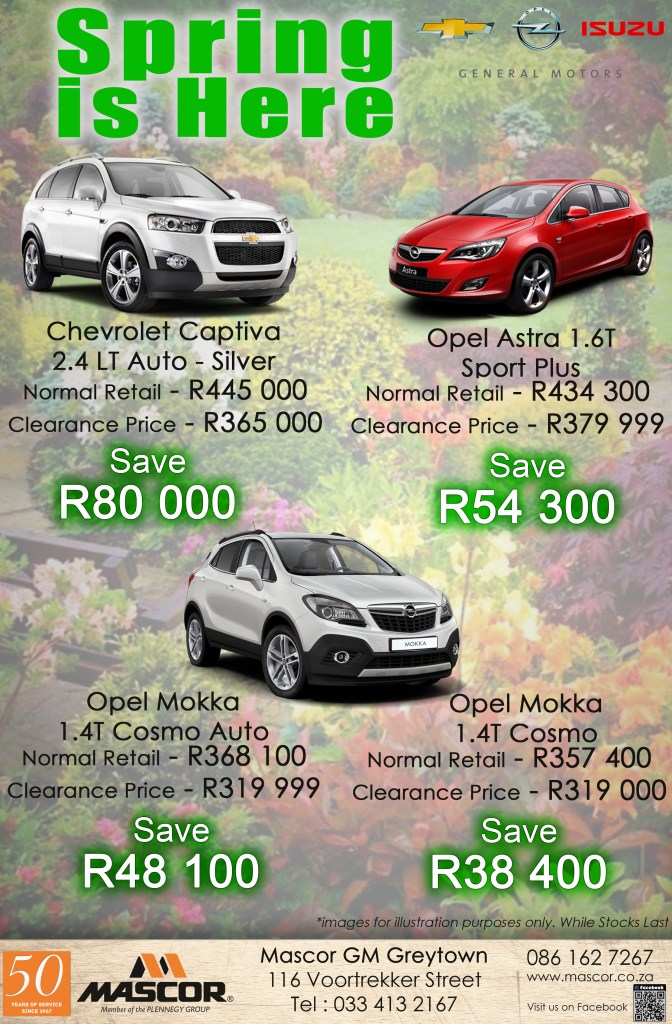 Save Big with the Mascor GM Greytown Spring Specials