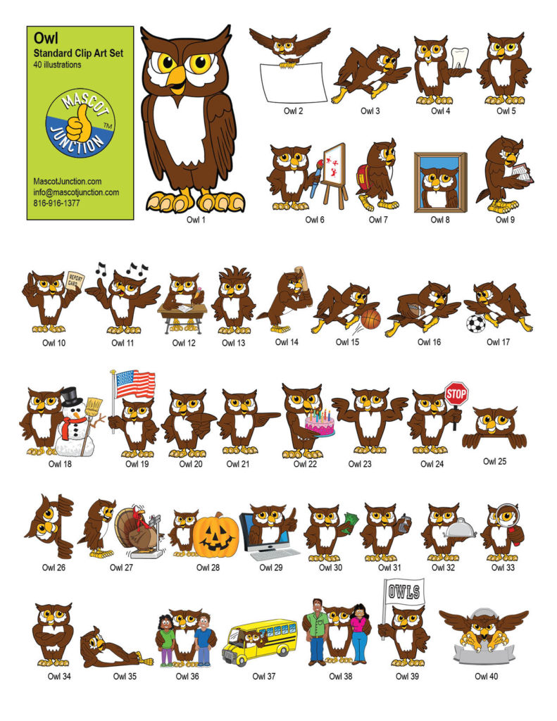 hight resolution of owl mascot clip art standard set