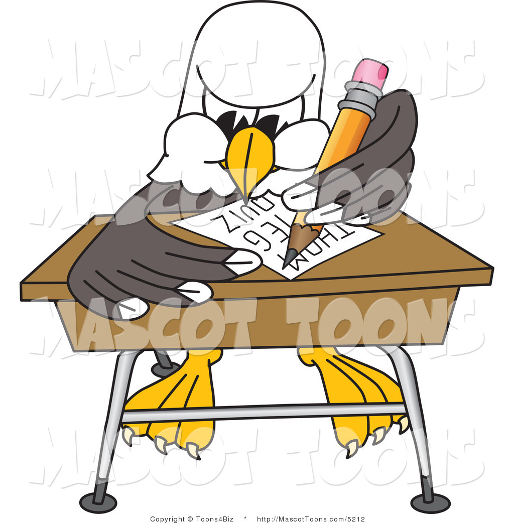 hight resolution of vector cartoon of a bald eagle mascot student taking a quiz in classroom