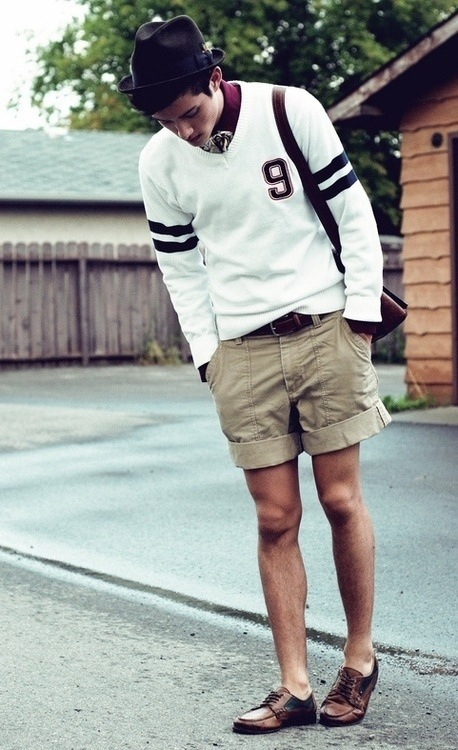 sweater and shorts