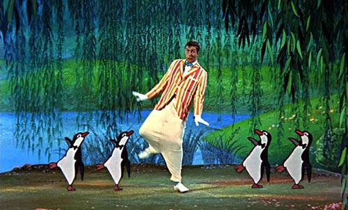 Dick van Dyke with penguins